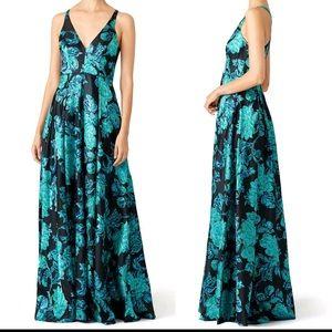 Badgley Mischka black teal floral shimmer gown